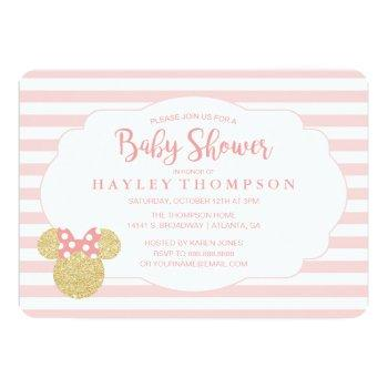 Minnie | Pink Striped Gold Glitter Baby Shower Invitation