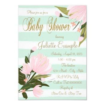 Mint And Pink Stripe Baby Shower Invitation