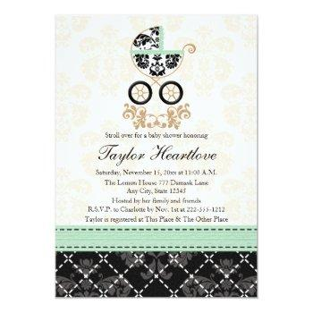 Mint Damask Baby Carriage Baby Shower Invitation