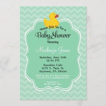 Mint Duck Baby Shower Invitation Gender Neutral