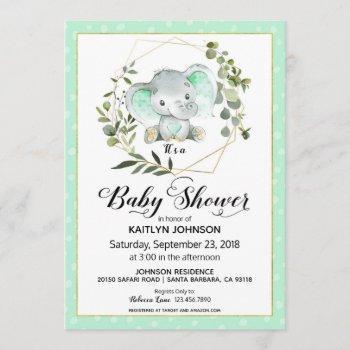 Mint Elephant Modern Baby Shower Invitation
