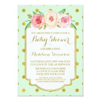 Mint Gold Dots Watercolor Floral Baby Shower Invitation