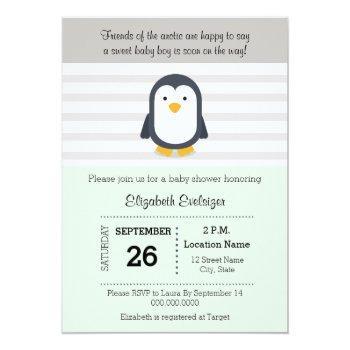 Mint Gray Penguin Baby Shower Invitation