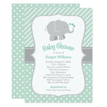 Mint Green And Gray | Modern Elephant Baby Shower Invitation
