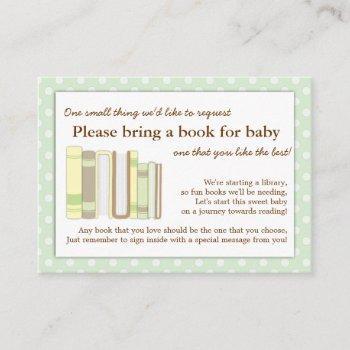 Mint Green Baby Shower Book Insert Request Card