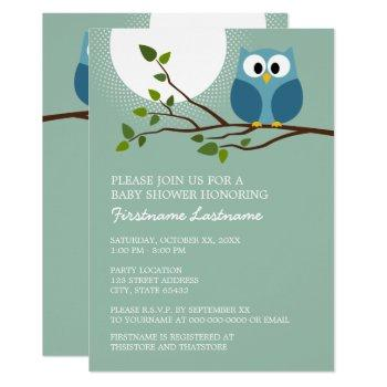 Mint Green Cute Owl On Branch Baby Boy Shower Invitation