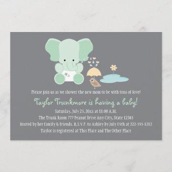 Mint Green Elephant Little Bird Baby Shower Invitation