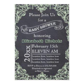 Mint Green Vintage Frame & Chalkboard Baby Shower Invitation