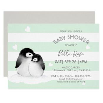 Mint Grey Penguin Baby Shower Invitations