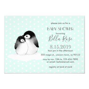 Mint Grey Penguins Hearts Baby Shower Invitation
