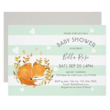 Mint Grey Woodland Fox Baby Shower Invitations