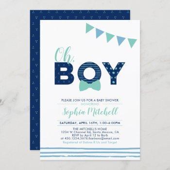 Mint & Navy | Modern Typography Boy Baby Shower Invitation
