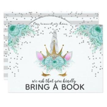 Mint, Silver & Gold Unicorn Princess Bring A Book Invitation
