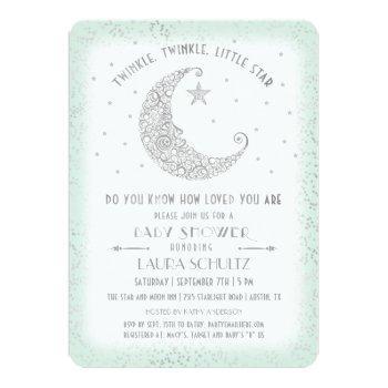 Mint Silver Twinkle Little Star Baby Shower Invitation