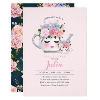 Miss Eyelashes Teapot Mom Baby Floral Baby Shower Invitation