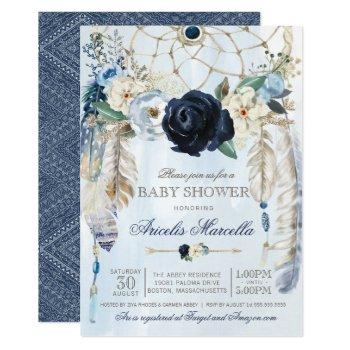 Misty Blue  Boho Dream Catcher Baby Shower Invitation