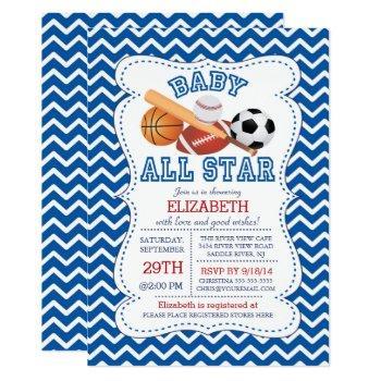 Modern All Star Sports Boys Baby Shower Invitation