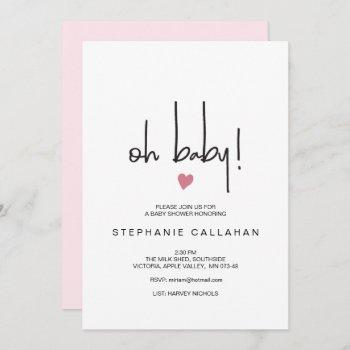 Modern Baby Girl Shower Invitation | Pink Heart