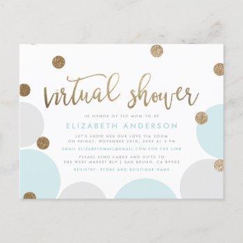 Modern Blue & Gold Glitter Confetti Virtual Shower Invitation Postcard