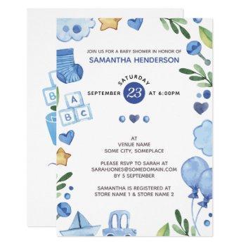 Modern Blue Watercolor Teddy Bear Baby Shower Invitation