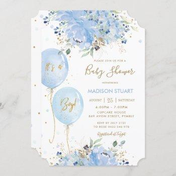 Modern Chic Blue Floral Balloons Boy Baby Shower