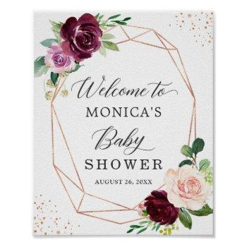Modern Cute Plum Purple Floral Baby Shower Sign