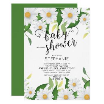 Modern Daisy Flowers Baby Shower Invitation