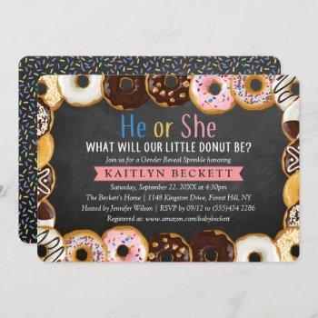Modern Donut Sprinkle Gender Reveal Party Invitation