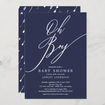 Modern Editable Color Tribal Oh Boy Baby Shower Invitation