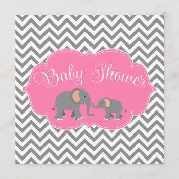 Modern Elephant Chevron Pink Gray Baby Shower Invitation