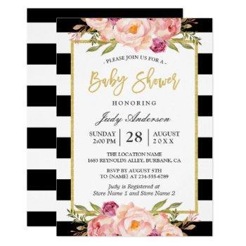 Modern Floral Gold Black White Stripes Baby Shower Invitation