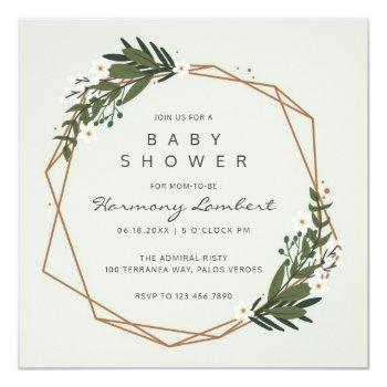 Modern Geometric Gold Frame Greenery Baby Shower Invitation
