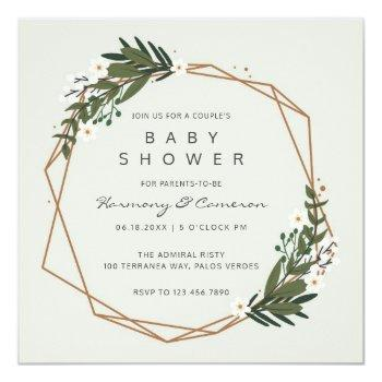 Modern Geometric Greenery Couples Baby Shower Invitation