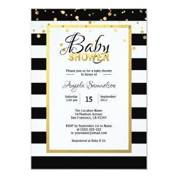 Modern Gold Black White Stripes Baby Shower Invitation