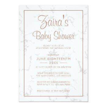 Modern Gray Marble With Rose Gold Girl Baby Shower Invitation