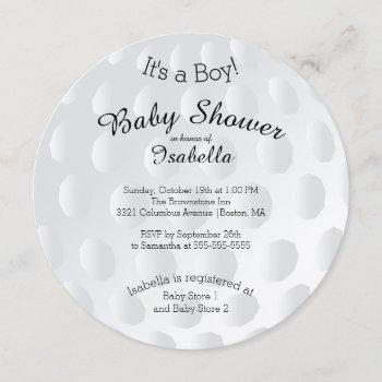 Modern It's A Boy Golf Ball Baby Shower Invitation