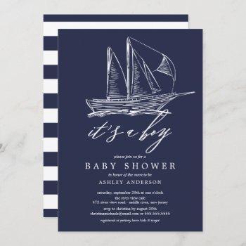 Modern It's A Boy Sailboat Baby Shower Invitation