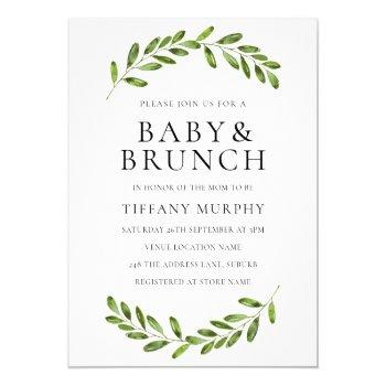 Modern Leaf Wreath Baby Shower Brunch Invite