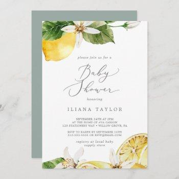 Modern Lemon Garden Baby Shower Invitation