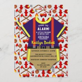 "Modern ""little Fireman"" Boys Baby Shower Invitation"