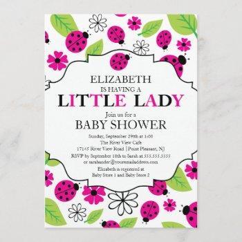 Modern Little Lady Pink Ladybug Baby Shower Invitation