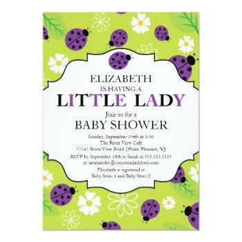 Modern Little Lady Purple Ladybug Baby Shower Invitation