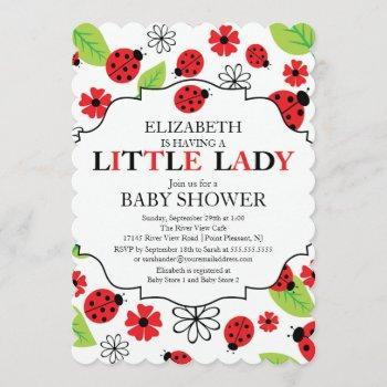 Modern Little Lady Red Ladybug Baby Shower Invitation