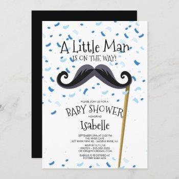 Modern Little Man Mustache Baby Shower