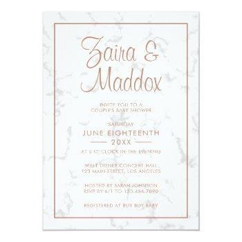 Modern Marble Rose Gold Girl Couples Baby Shower Invitation