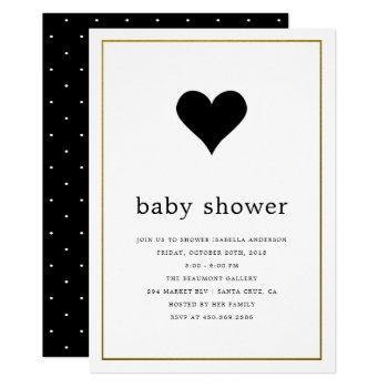 Modern Minimalist Black & White Heart Baby Shower Invitation