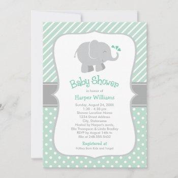Modern Mint And Gray Elephant Baby Shower