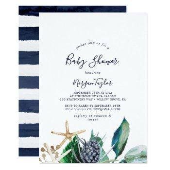 Modern Nautical | Greenery Baby Shower Invitation