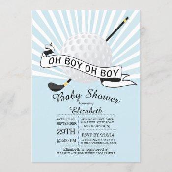 Modern Oh Boy Golf Ball Boys Baby Shower Invitation