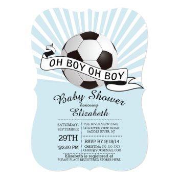 Modern Oh Boy Soccer Boys Baby Shower Invitation